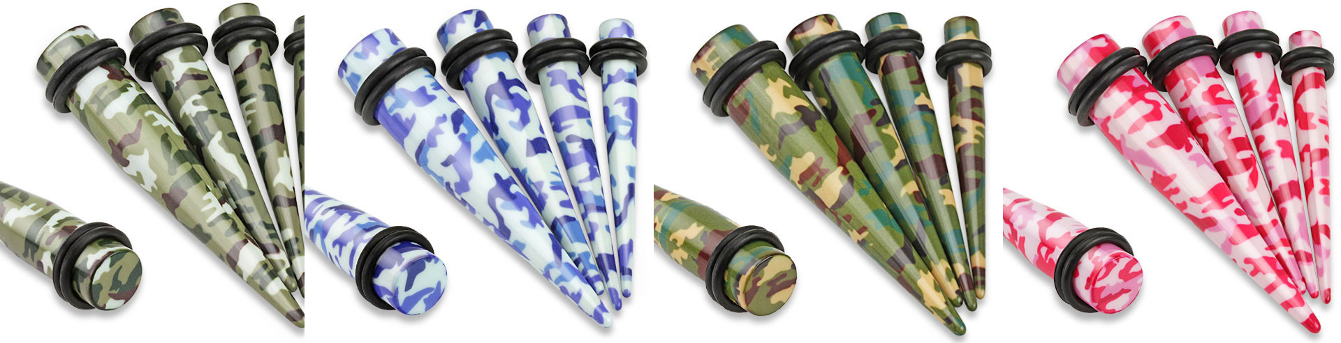 Acrylic Camouflage With O-Rings Ear Taper