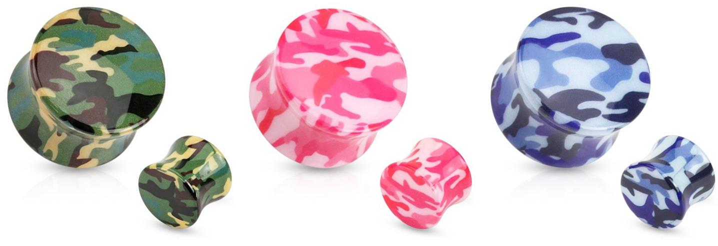 Camouflage Printed UV Acrylic Saddle Fit Plugs