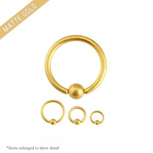 16 Gauge Matte Gold I.P. Captive Bead Ring