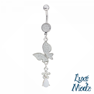 Silver Ion-Plated Dangle Butterfly Belly Button Ring