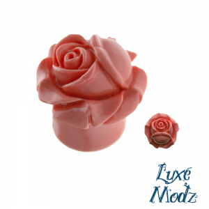 Organic Resin Ear Plugs Peach Closed Rose