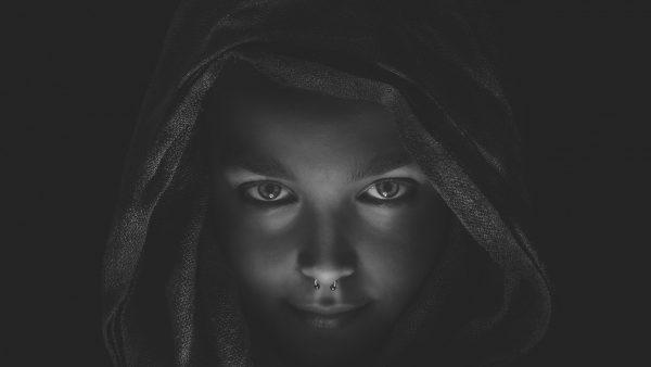 Black and white picture of a girl
